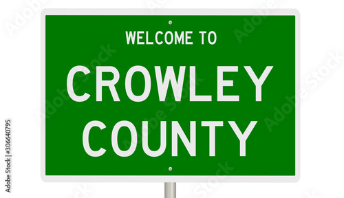 Photo  Rendering of a green 3d highway sign for Crowley County