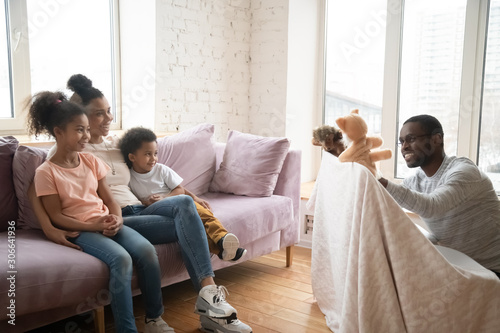 Poster Ecole de Danse African American dad show puppet show to happy family