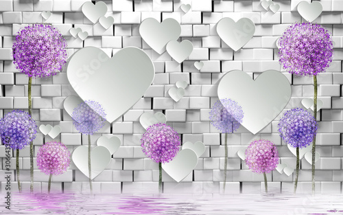 Obraz kwiaty   3d-mural-wallpaper-bricks-background-white-rose-paper-flowers-colorful-dandelions-and-3d-hearts