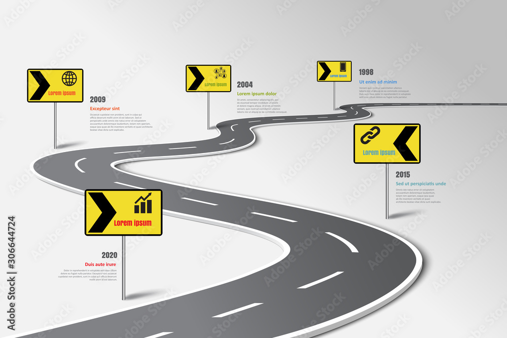 Fototapeta Business road map timeline infographic template with pointers designed for abstract background milestone modern diagram process technology digital marketing data presentation chart Vector illustration