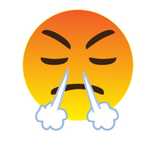 Angry Emoji Face. A Yellow Face Turning Red With A Frowning Mouth And Eyes And Eyebrows Closed In Anger, Steam Coming Out Of Its Nose As A Sign Of Frustration.