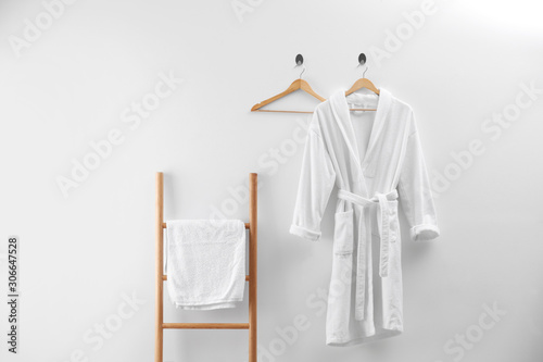 Soft comfortable bathrobe and fresh towel indoors Canvas Print