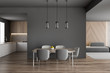 canvas print picture Gray dining table with kitchen and sofa