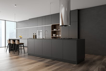Gray Kitchen Corner With Bar