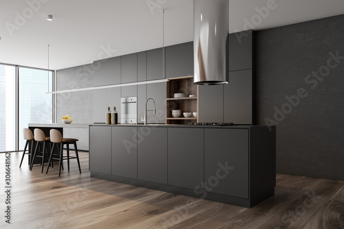 Fototapeta Gray kitchen corner with bar obraz