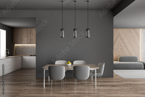 Cadres-photo bureau Pays d Asie Gray dining table with kitchen and sofa