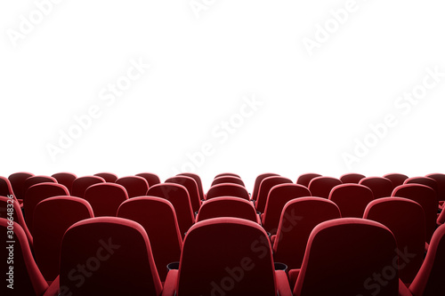 Movie theater with red seats and mock up screen