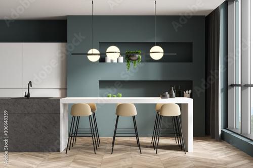 Valokuvatapetti Green and white kitchen interior with bar