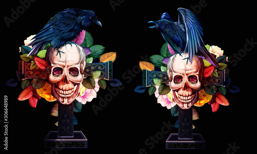 Photo sur Toile Crâne aquarelle Vintage illustration of raven on skull with cross, flowers roses, leaves behind. Set of two. Hand drawn, vector - stock.
