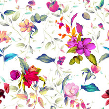 Seamless Background Pattern Illustration. Wild Rosemary, Tulips With Different Flowers And Leaf On Pastel. Hand Drawn. Watercolor.
