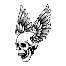 Winged Human Skull Isolated On...