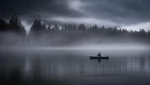 Moody Fishing In Morning Mist