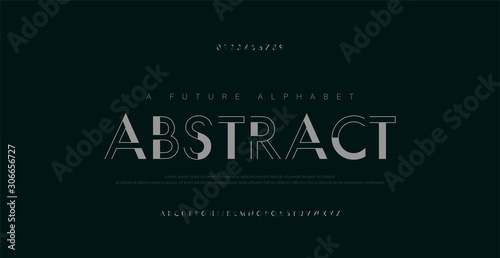 Vászonkép Abstract urban thin line font alphabet