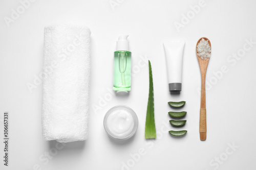 Fotografie, Obraz  Flat lay composition with aloe vera and cosmetic products on white background