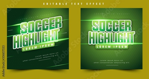 Valokuva soccer tournament sports style design event, 3d text effect sport event header or title, for poster and banner