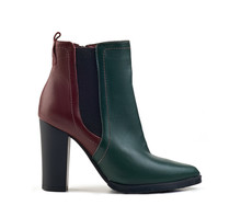 Red-green Leather Female Autumn Shoe On A White Background