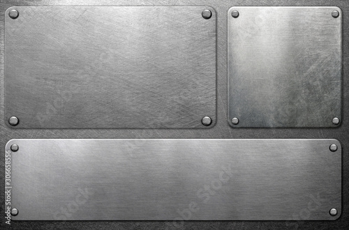 Metal plates on steel background Canvas Print