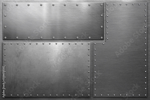 Obraz Metal background, metal plates with rivets on steel background - fototapety do salonu