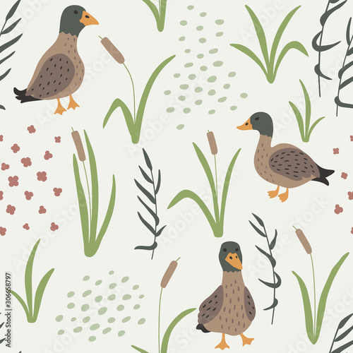 Obraz na plátně Hand drawn seamless pattern with Ducks and grass