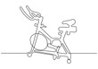 Continuous one line drawing of rowing bike trainers for fitness cardio machine. Sport theme object.