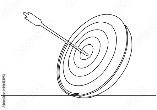 Continuous one line drawing of arrow on target circle. Wallpaper Mural