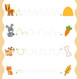 Fototapeta Fototapety na ścianę do pokoju dziecięcego - Trace the dotted lines from animals to food. Connect the dots, education game for children