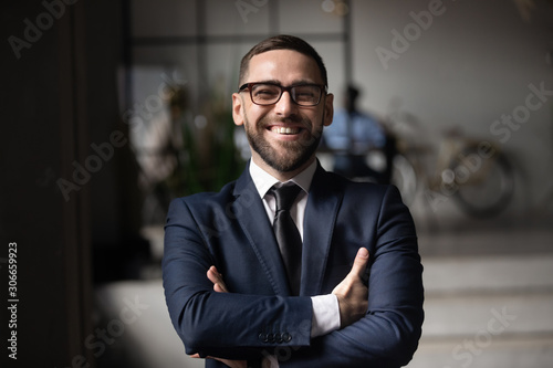 Head shot close up portrait of happy businessman. Canvas Print