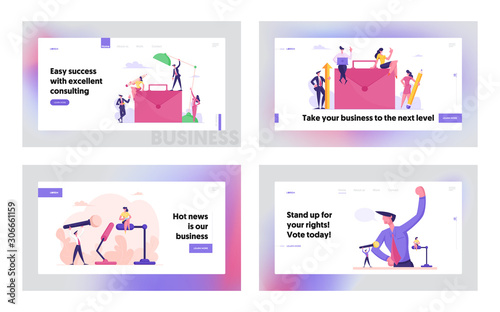 Public Relation, Communication, Business Project Website Landing Page Set Fototapet