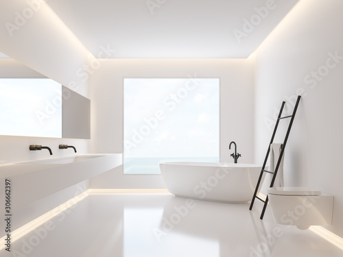 Pinturas sobre lienzo  Minimalist bathroom with sea view 3d render, The room have white walls and floors decorated with hidden light in the walls and ceilings, large windows looking out to nature