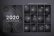 Calendar Design For The New Year 2020. Beautiful Decorative Mandala Elements. The Week Starts On Sunday