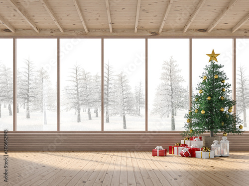 Fotografía  The interior of a wooden house with Christmas trees 3d render