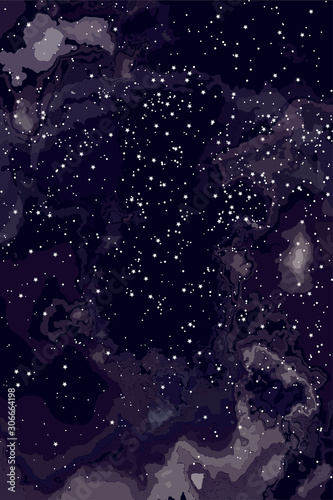 Photo Beautiful abstract background of romance and science, Night sky stars through clouds