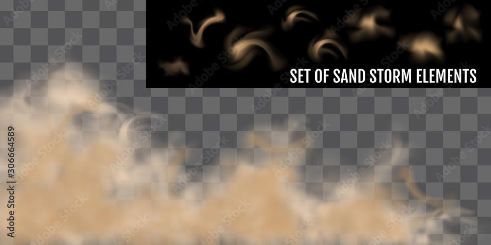 Fototapeta Realistic dust or sand storm. Sandstorm Elements Set.