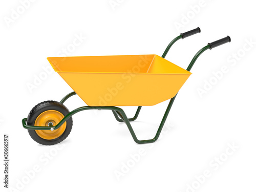 Photo Yellow garden barrow. 3d rendering illustration