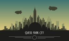 Diesel Punk Skyline City Vector