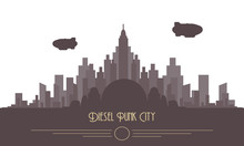 Diesel Punk Skyline City Vector