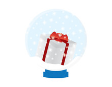 White Red Gift Box In A Snow G...