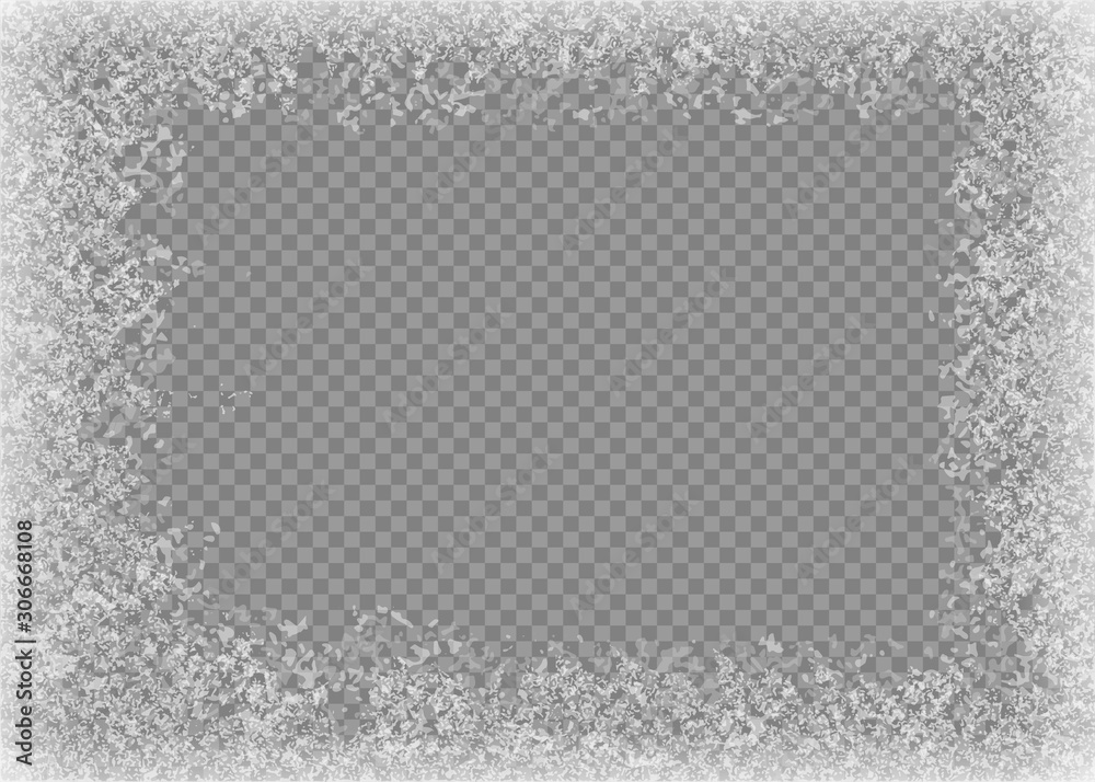 Fototapety, obrazy: Snow frame. Frozen window. Window frozen glass ice. Vector illustration.