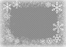 Snow Frame. Frozen Window. Window Frozen Glass Ice. Vector Illustration.