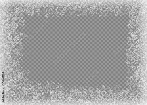 Snow frame. Frozen window. Window frozen glass ice. Vector illustration.