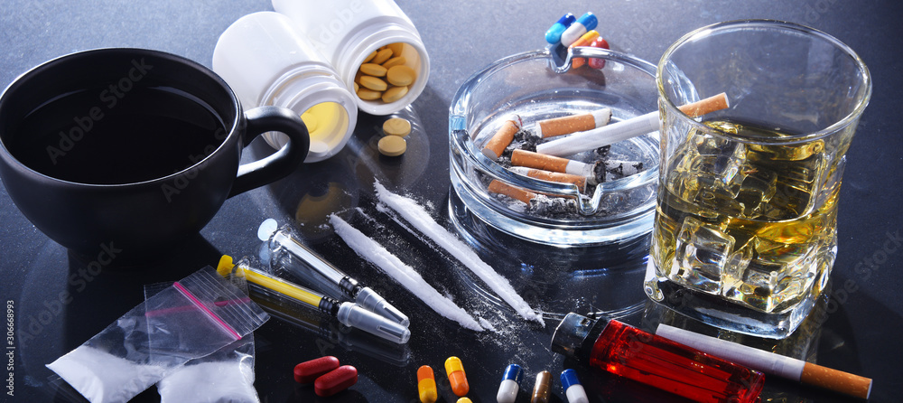 Fototapeta Addictive substances, including alcohol, cigarettes and drugs