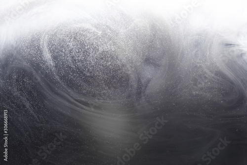 Obraz Abstract underwater gray background with bubbles of water. Ray of light through smoke and the thickness of the ocean - fototapety do salonu