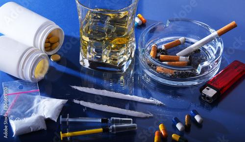 Fototapeta Addictive substances, including alcohol, cigarettes and drugs obraz