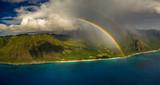 Fototapeta Rainbow - double rainbow coastline