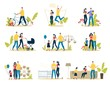 Happy Family Life Scenes Trendy Flat Vector Set. Parents with Child Having Fun in Amusement Park, Father and Son Repairing Bicycle, Couple Walking with Baby, Family Spending Time Together Illustration