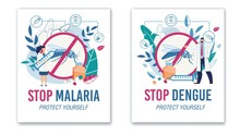Stop Malaria And Dengue. Protective Sign No Mosquitos. Specialist Offering Vaccine Against Insects Bites. Tertian And Yellow Fever Protection. Promotion Flat Poster Set. Vector Cartoon Illustration