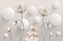 Mural Illustration Of Beautiful White Flower Decorative On Gray Waves Wall Background 3D Wallpaper. 3d White Ball  Graphical Simple Modern Art