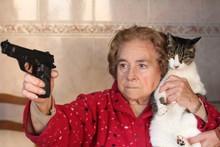 Angry Senior Woman Protecting ...