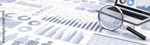 ビジネス資料と虫眼鏡、ノートパソコン Canvas Print