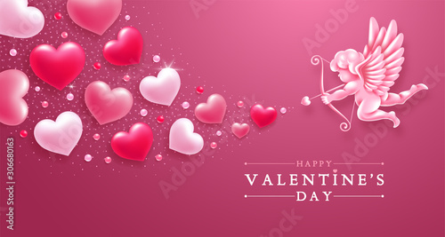 Valentines Day Greeting Card With Cupid And Hearts Wallpaper Mural